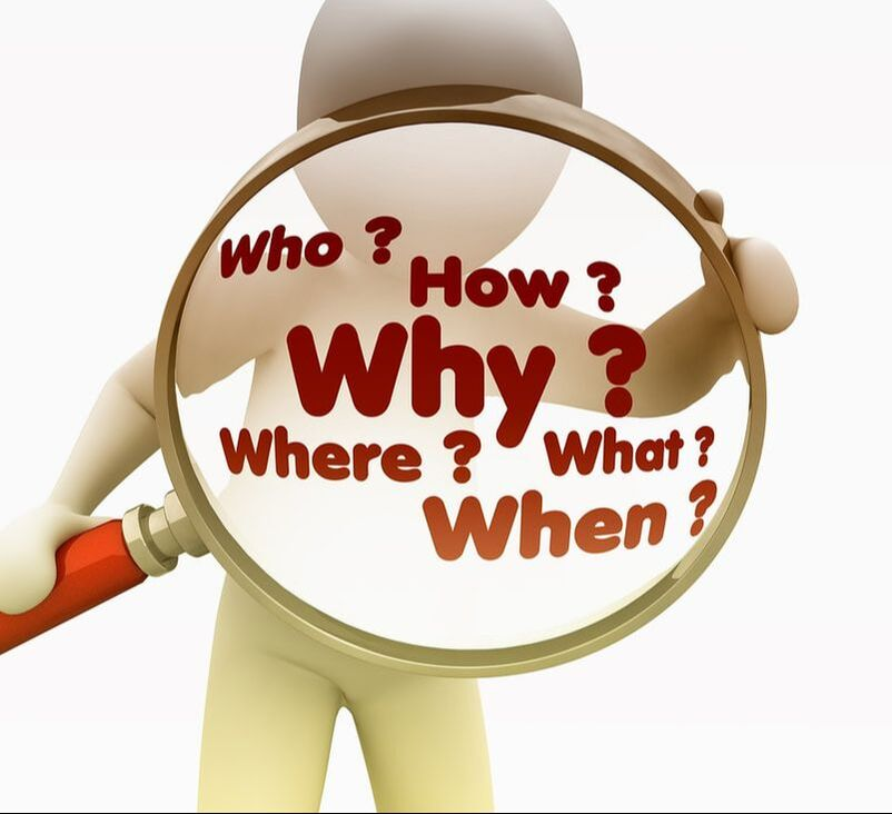 Figure holding magnifying glass that contains the text: Who, What, When, Where, Why, How?
